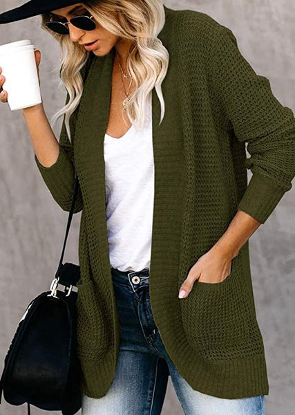 New Waffle Knit Long Cardigan Knitted Maxi Sweater With Pockets For Women