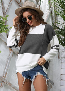 New Women's Striped Color Block Round Neck Long Sleeve Pullover Knitted Sweater Tops