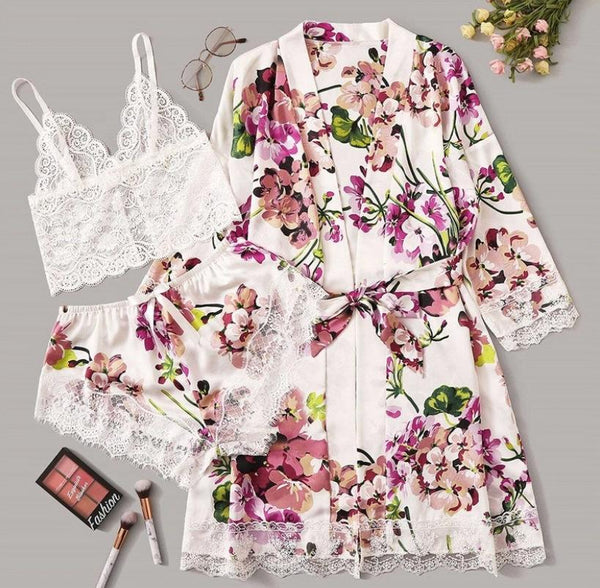 Floral Printed Silk Lace Trim Lingerie Sleepwear 3 Pieces Set