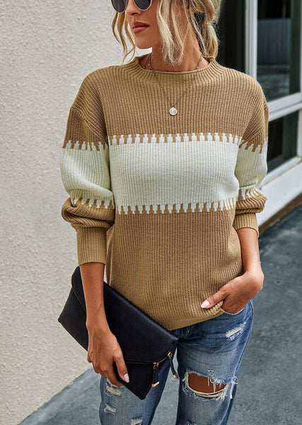 Womens Mockneck Patterned Long Sleeve Knitted Pullover Sweater Tops