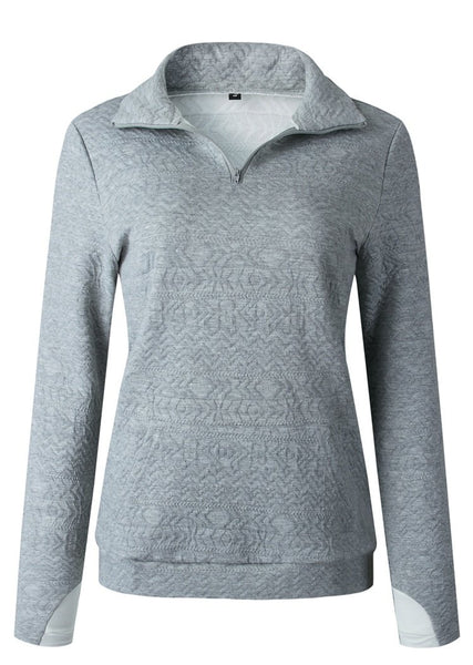 Quarter Zip Jacquard Weave Sweatshirts Lapel Collar Pullover Tops with Pockets