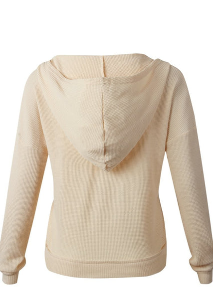 Womens Deep Neck Long Sleeve Wrap Waffle Knit Pullover Hoodie Tops