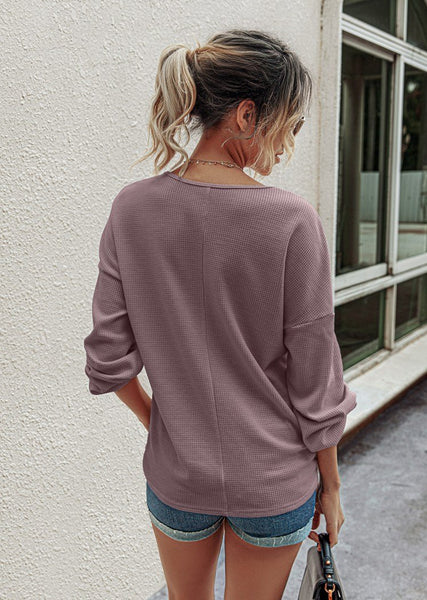 Womens Deep Neck  Long Sleeve Waffle Knit Pullover T Shirt Tops With Button