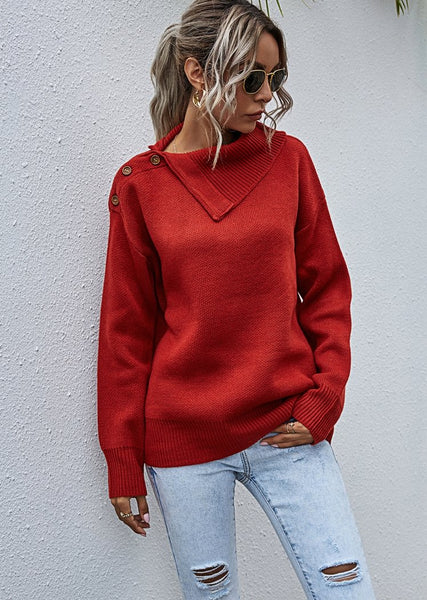 Women's Turtleneck Lapel Collar Long Sleeve Knitted Sweater Pullover Tops With Buttons
