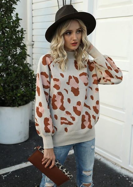 New Leopard Printed Turtleneck Round Neck Batwing Long Sleeve Sweater For Women