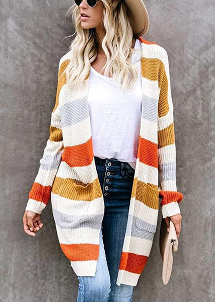 New Women's Striped Color Block Long Cardigan Knitted Maxi Sweater