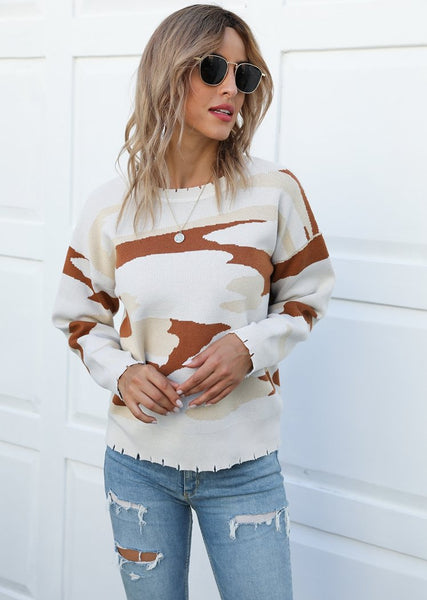 New Autumn Winter Camouflage Round Neck Long Sleeve Sweater For Women