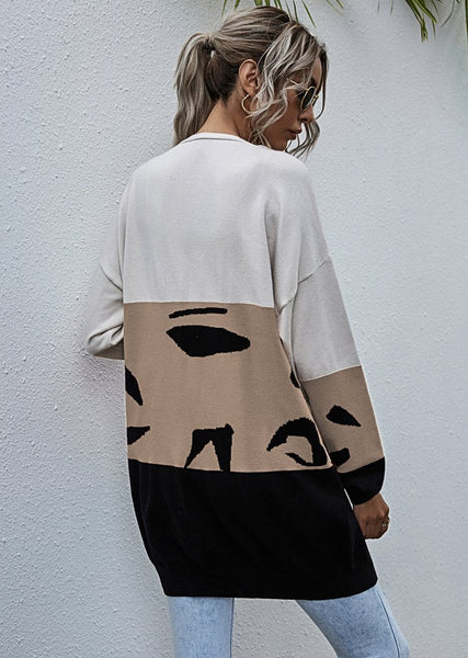 New Triples Leopard Printed Color Block Long Cardigan Knitted Maxi Sweater