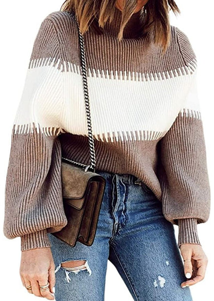 New Striped Turtleneck Round Neck Batwing Long Sleeve Sweater For Women
