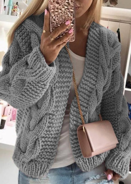 New Autumn Winter Women's Color Block Long Cardigan Knitted Maxi Sweater