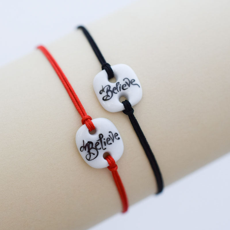 Believe. Porcelain bracelet handmade and hand painted by Vali Bondoc