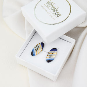 Porcelain Stud Earrings - Ellipse - Gold stripes
