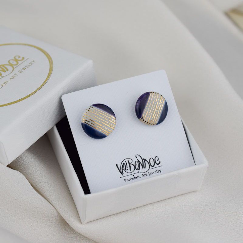 Porcelain Stud Earrings - Round - Gold stripes