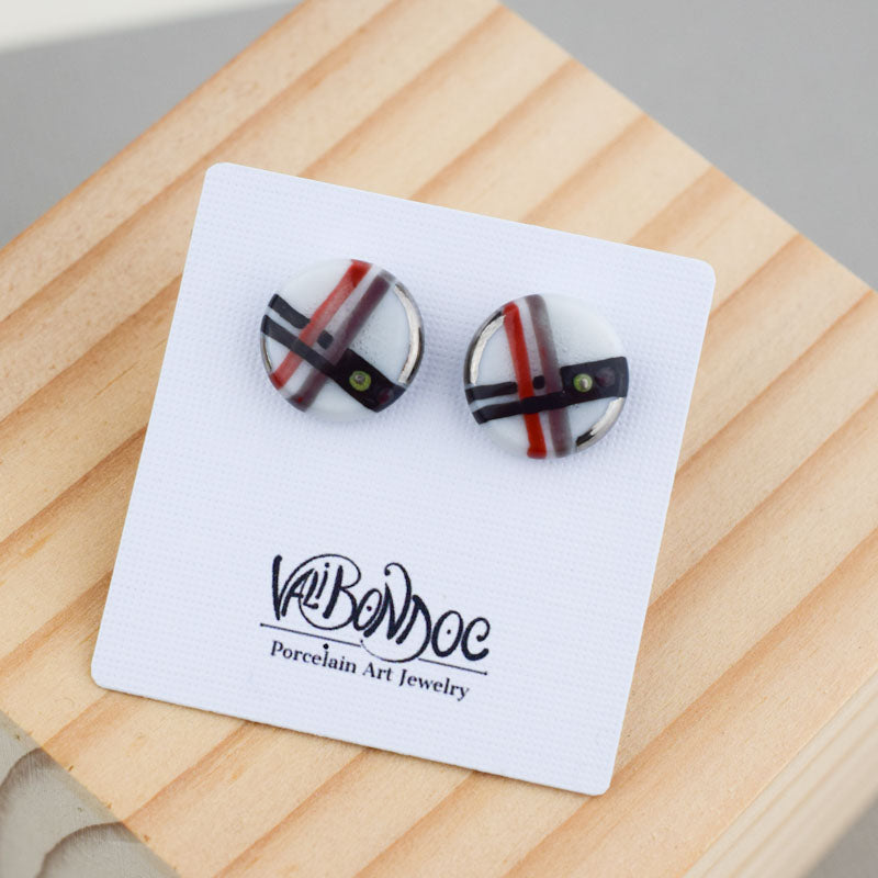 Porcelain Stud Earrings - Round - Stripes
