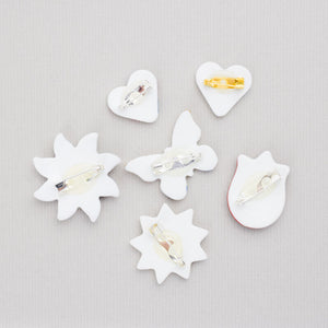Porcelain little  brooch -Round