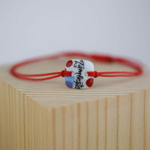 Porcelain bracelet handmade and hand painted by Vali Bondoc
