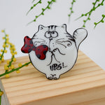 Porcelain  brooch - Round Fatty Cat