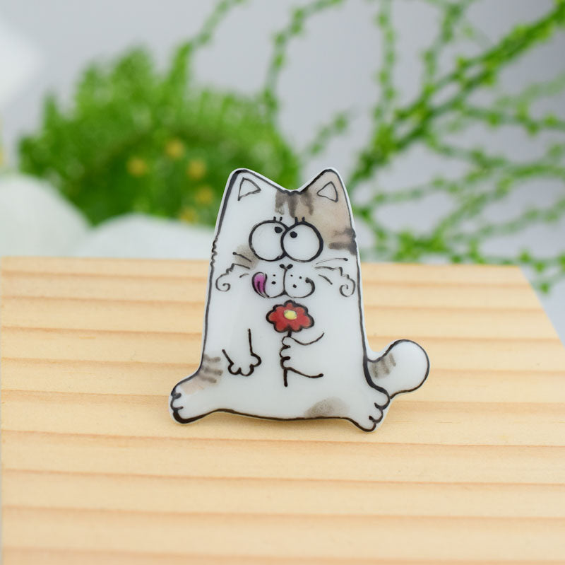 Porcelain  brooch - Topy Cat
