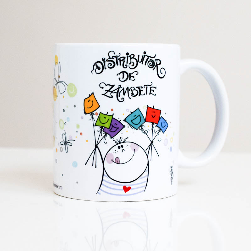 Ceramic mug illustrated and printed by Vali Bondoc . This mug is made especially for you to start your day in a good mood, energy and with a big smile