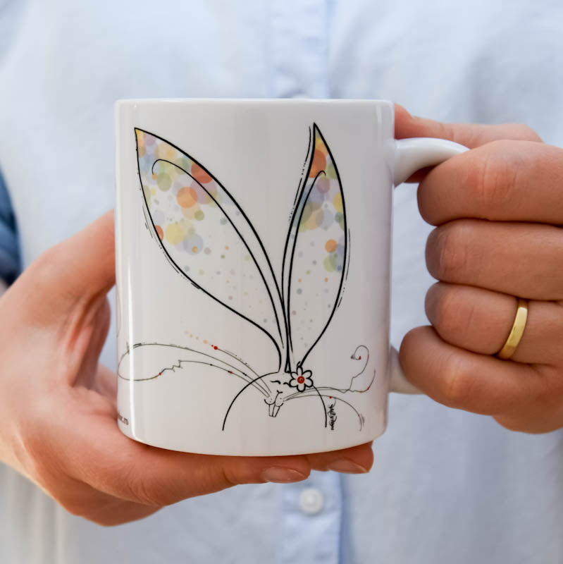 Illustrated Ceramic Mug - happiness on the top of the ears