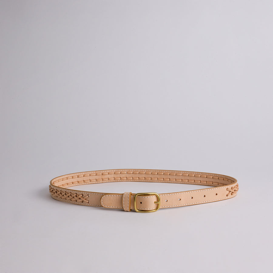 Lindquist Braided Belt in Vachetta 2 String  Braided Leather Handmade Belt with Solid Brass Hardware