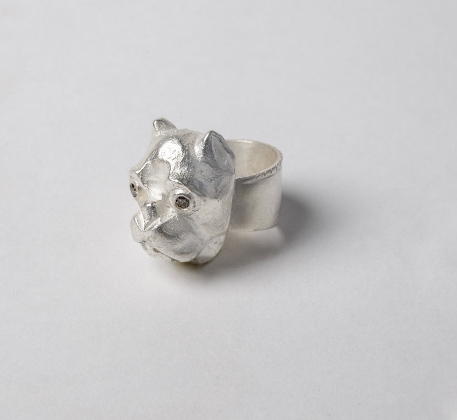 Hand Carved Bulldog Ring with Raw Diamonds