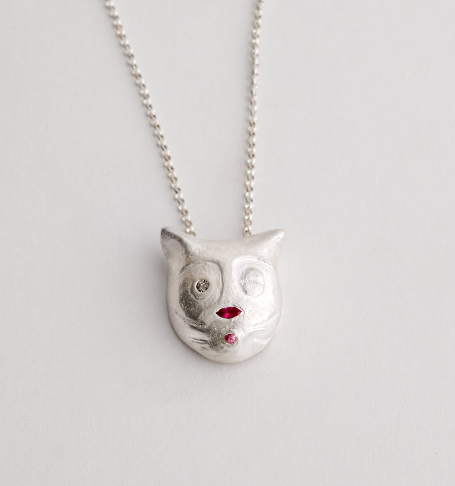 Hand Carved Cat Necklace with Sapphires