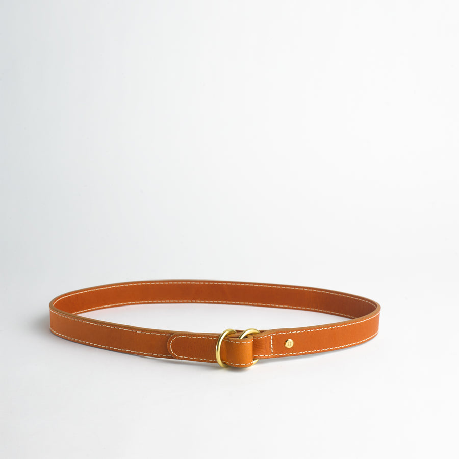 Double Ring Belt in Honey Vachetta