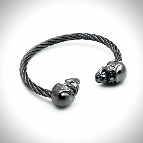 Adjustable Skull Bracelet with Black Sapphires