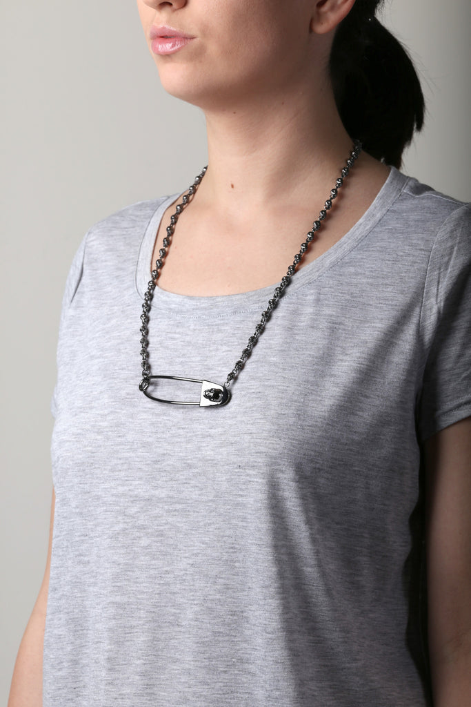 Skulls Safety Pin Necklace