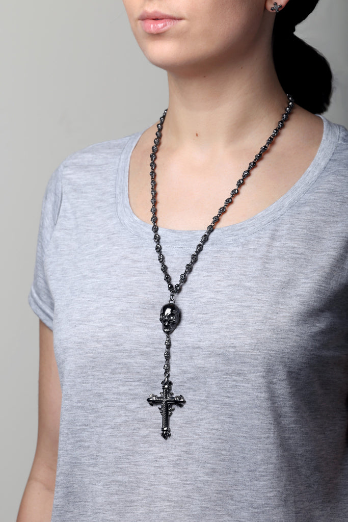 Skull & Cross Pendant with Skull Chain
