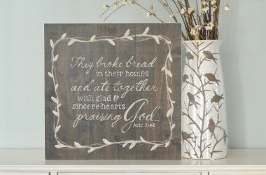 They Broke Bread Together Scripture Wall Art