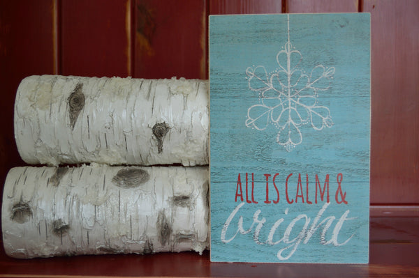 Calm and Bright Christmas Wood Sign