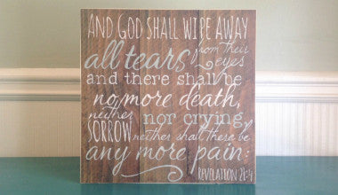 Revelation 21:4 Wood Scripture Art