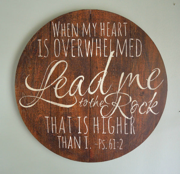 Lead Me to the Rock Round Scripture Art