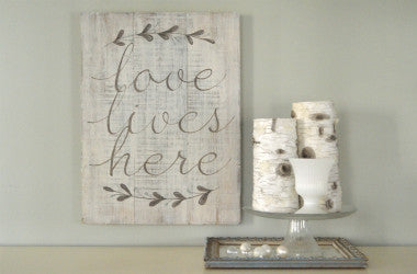 Love Lives Here Wood Wall Art