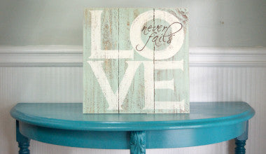 Love Never Fails Wood Scripture Art