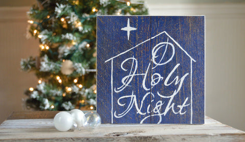 O Holy Night Christmas Wood Sign