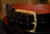 Solid 18k Gold Engraved Buckle with Alligator Belt