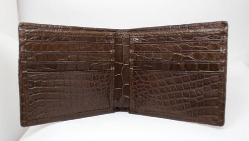 "Matte Brown ""President"" Full Alligator Wallet"