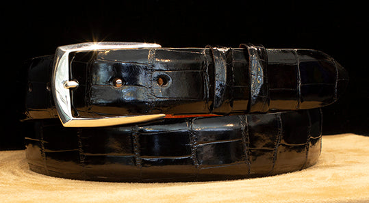 """Town and Country"" Sterling Silver Belt Buckle with Black Glazed Alligator Belt"