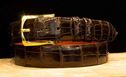 Chocolate Alligator Dress Belt