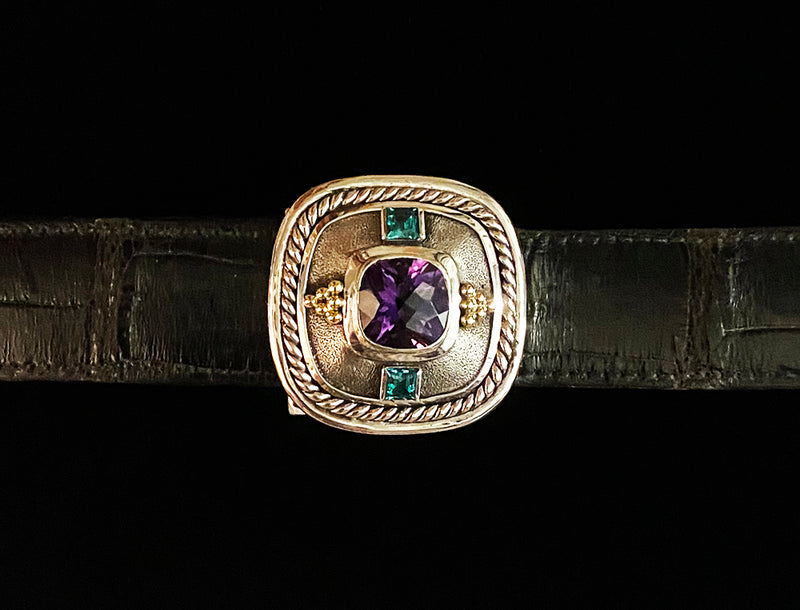 """Amethyst"" Sterling Silver and 14k Gold Buckle"