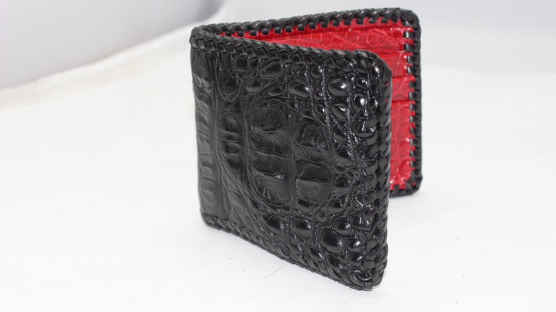 "Black Hornback ""President"" Full Alligator Wallet with Red Alligator Interior"