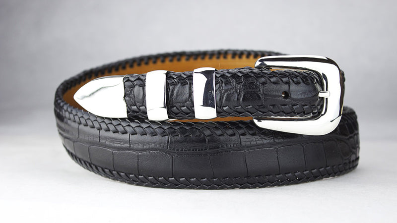 Hand Braided Alligator Belt with New Yorker Buckle Set
