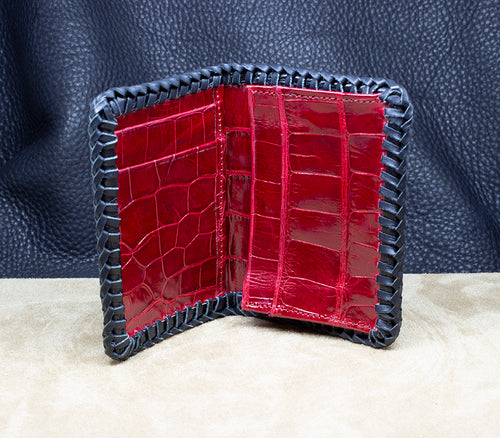 Front pocket Black Hornback and Red Belly Full Alligator Wallet