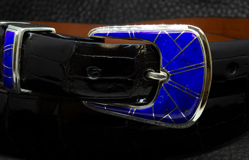 "BG Mudd ""Blue Bell"" 4 Piece Sterling Silver with Lapis Inlay with Alligator Belt"