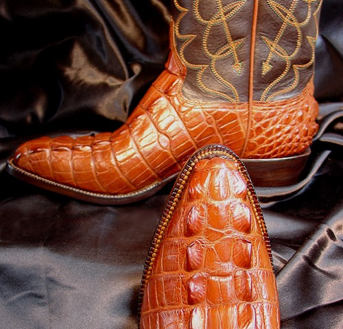 Cognac American Alligator Tail Boots