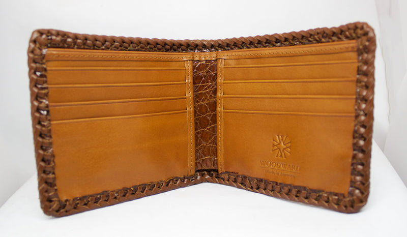 Cognac Hand Braided Alligator Wallet