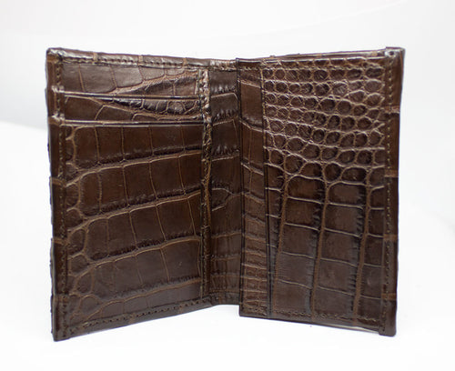 Front pocket Chocolate Hornback Full Alligator Wallet